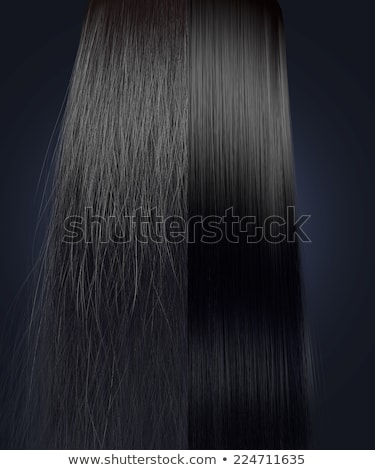 black hair frizzy and straight comparison stock photo © albund