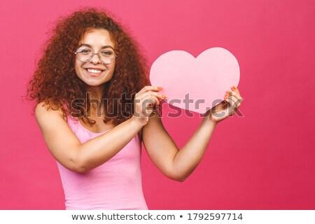 Kafkas iş kadını büyük kırmızı kalp Stok fotoğraf © RAStudio