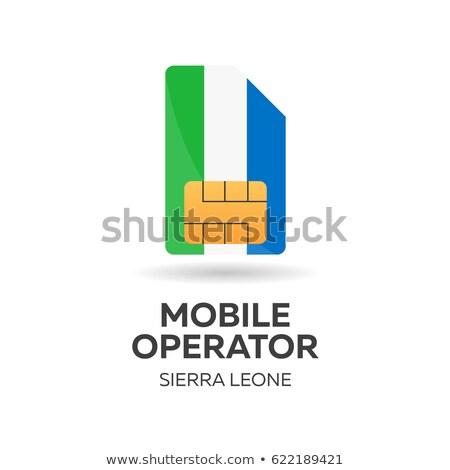 Stock photo: Sierra Leone Mobile Operator Sim Card With Flag Vector Illustration
