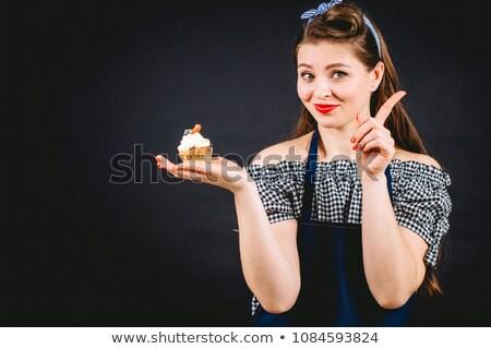Nő tart csokoládé muffin afroamerikai nő fekete Stock fotó © Sibstock