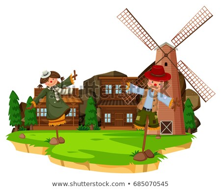 Western farm scene with scarecrows and windmill Stock photo © bluering