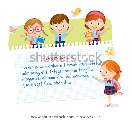 Line paper template with kids reading book background Stock photo © bluering
