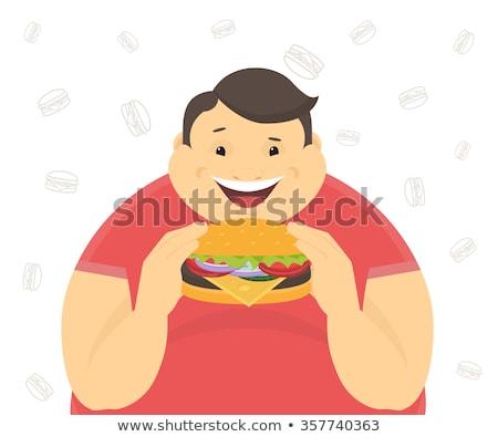 Boldog kövér férfi karakter eszik hamburger vektor Stock fotó © curiosity