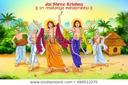 odaadás · krisna · boldog · fesztivál · illusztráció · indiai - stock fotó © vectomart