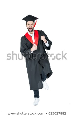Stock fotó: Izgatott · fiatalember · érettségi · kalap · tart · diploma