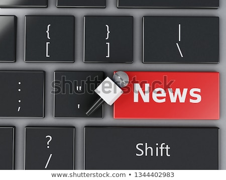 Stock photo: Yellow Business News Button on Keyboard. 3D Render.