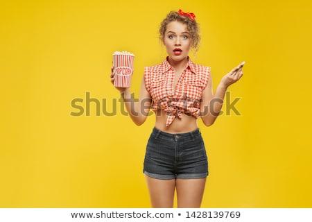 Сток-фото: красивой · молодые · сексуальная · женщина · джинсов · шорты