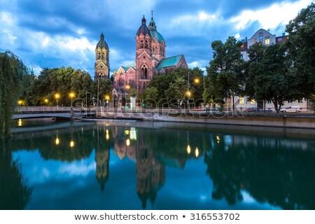 kerk · horizontaal · oude · blauwe · hemel · witte · wolken - stockfoto © zhekos