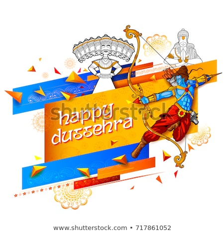 Lord Rama and ten headed Ravana for Happy Dussehra Navratri sale promotion festival of India Stock photo © vectomart