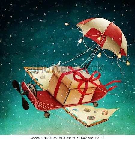 Paraguas nieve Navidad saludo invierno oscuro Foto stock © romvo
