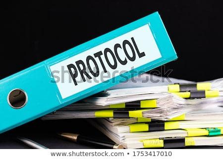 protocols concept on file label stock photo © tashatuvango