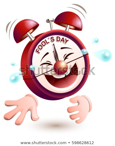Fools day time. Clock is laughing to tears Stock photo © orensila