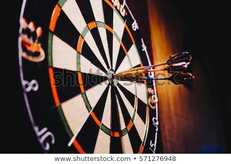 Darts nyilak központ darts tábla jókedv piros Stock fotó © SRNR