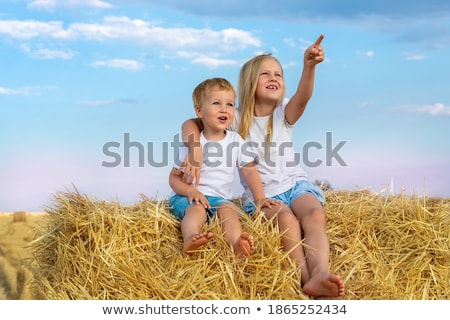 girl sitting on top of bale of hay stock photo © is2