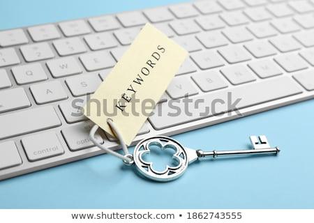 követelés · előrejelzés · szöveg · kék · billentyűzet · kulcs - stock fotó © tashatuvango