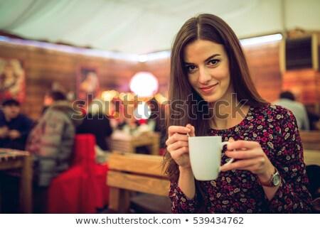 девочек горячий напиток палатки продовольствие ребенка пить Сток-фото © IS2