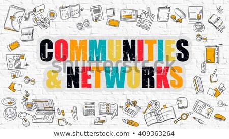 Közösségek hálózatok fehér modern vonal stílus Stock fotó © tashatuvango