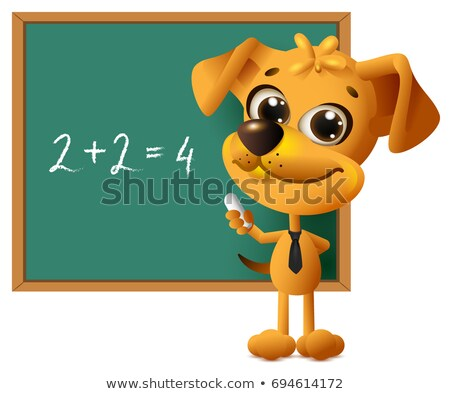 yellow dog teacher stands at blackboard math lesson two plus two equals four stock photo © orensila