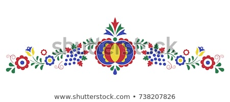 Traditional folk ornament, the Moravian ornament from region Slovacko, floral embroidery symbol isol Stock photo © kurkalukas