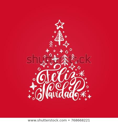 перевод испанский веселый Рождества каллиграфия текста Сток-фото © orensila