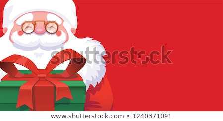 Marry Christmas and Happy New Year banner on red background with snowflakes and gift boxes. Vector i Stock photo © Leo_Edition