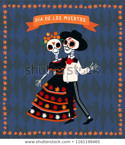 sugar skull couple ribbon frame stock photo © lenm