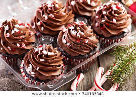 Chocolate cupcakes in Christmas box stock photo © fotogal