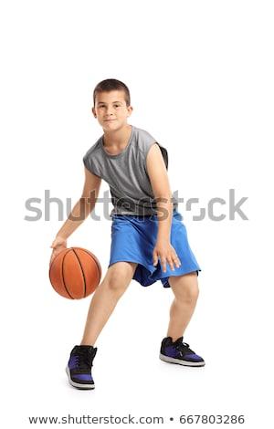 Jongens spelen basketbal witte illustratie kind Stockfoto © bluering