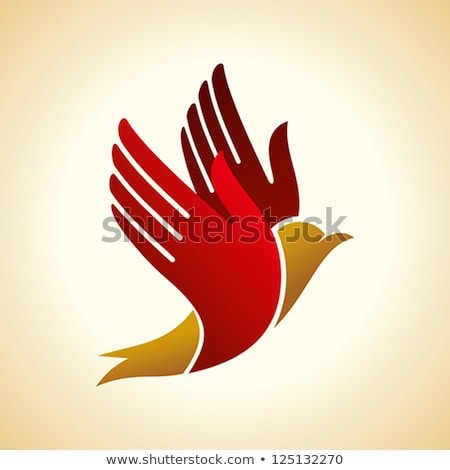 Dove bird in hand. Peace sign. Pigeon fly icon Stock photo © Terriana