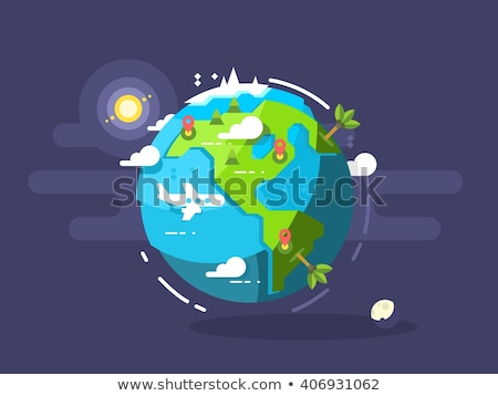 Earth with continents in flat design isolated Stock photo © user_11397493