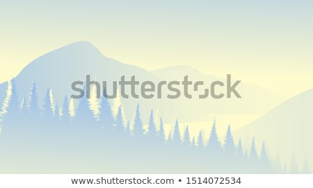 Stock fotó: Kilátás · kék · hegyek · vektor · minimális · természet