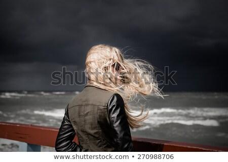 Nő néz hát tengerpart ablak utazás Stock fotó © IS2