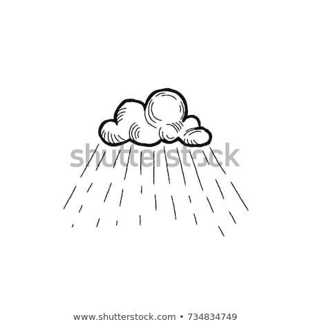Rain icon. Hand drawn cloud with rain droplets. Weather label Stock photo © Terriana