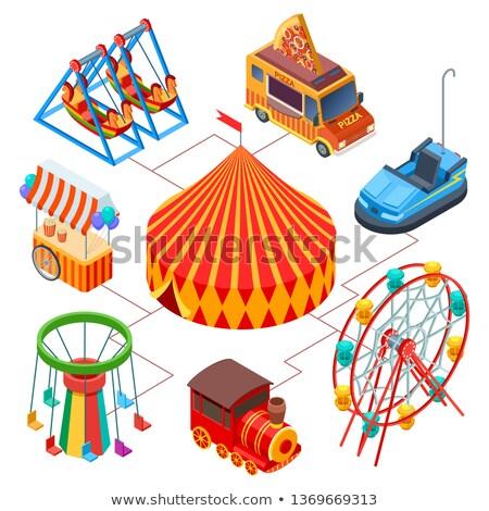 Parco di divertimenti strisce tenda isometrica 3D elemento Foto d'archivio © studioworkstock