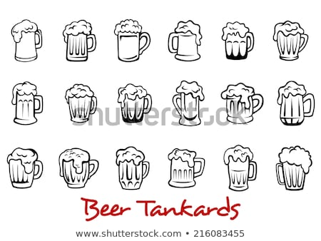 Glass pint tankards of frothy beer isolated icon Stock photo © studioworkstock