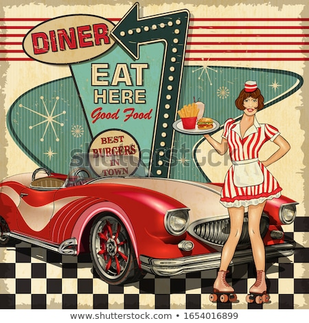 Waitress in an american diner Stock photo © IS2