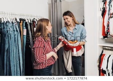jeunes · femmes · Shopping · vêtements · magasin · deux · heureux - photo stock © is2