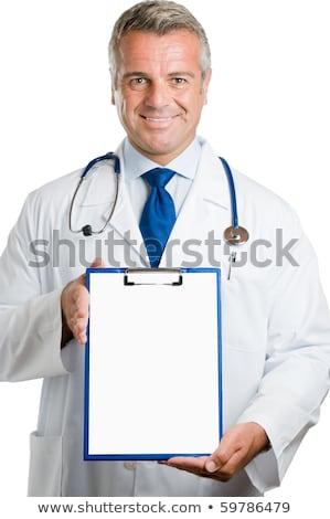 médico · clipboard · feminino · papel · em · branco · mulher - foto stock © CsDeli