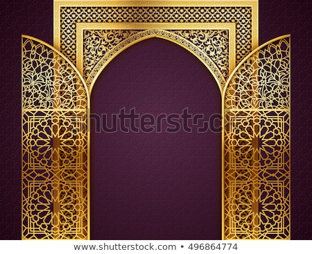 golden mosque door with islamic pattern for ramadan kareem Stock photo © SArts
