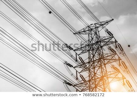 Alta tensão luz pólo distribuição transformador metal Foto stock © lunamarina