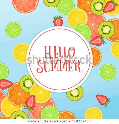 Aardbei splash hallo zomer Stockfoto © SArts