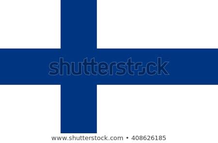 Finlandia bandera blanco fondo marco azul Foto stock © butenkow