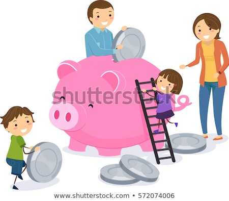 stickman family save money piggy bank stock photo © lenm