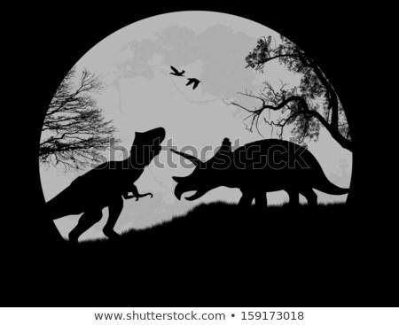 Triceratops in full moon night Stock photo © bluering
