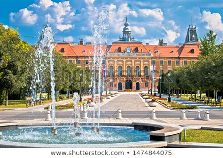 Stock photo: Town of Sombor square and church view