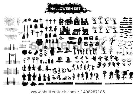 Halloween czarny zabawy sylwetka ikona ilustracja Zdjęcia stock © svvell