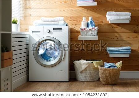 White clean laundry modern room with washer and dryer Stock photo © iriana88w