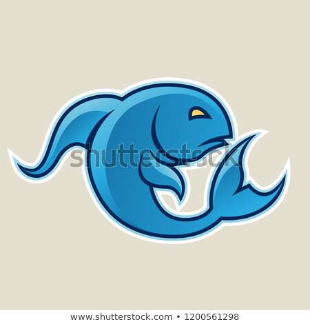 blue curvy fish or pisces icon vector illustration stock photo © cidepix