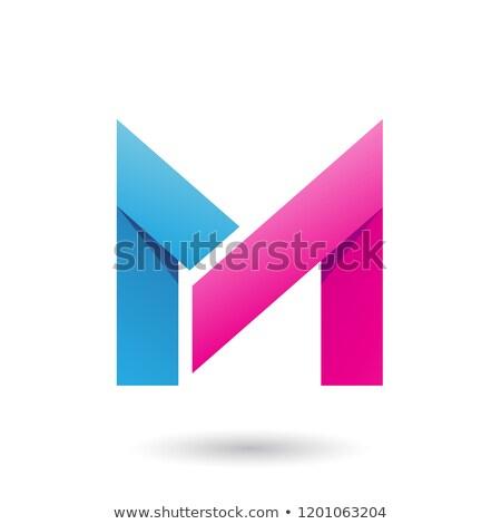 Azul magenta dobrado papel letra m vetor Foto stock © cidepix