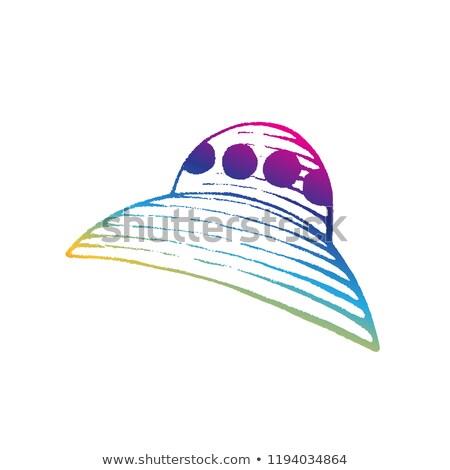Rainbow colorato inchiostro sketch straniero nave Foto d'archivio © cidepix